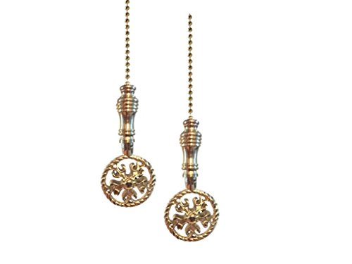 Upgradelights Set of Two Solid Brass Woven Fan Pulls with Beaded Chain and Connector