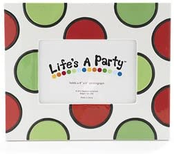 Ceramic Picture Frame - Red & Green Dots Christmas Holiday Gift Party