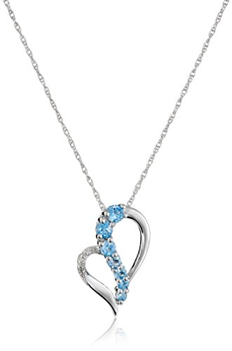 - Sterling Silver Blue Topaz and Diamond Accent Heart Journey Pendant Necklace, 18