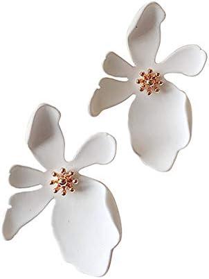 花 イヤリング ピアス スタッド レディース 大きい ファッション 耐久性 快適 可愛い アクセサリー (ホワイト)