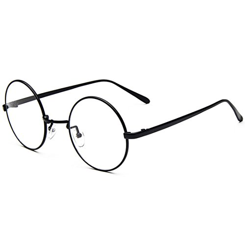 D.King Oversized Vintage Round Retro Large Metal Frame Clear Lens Eyeglasses Black