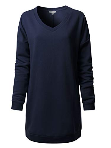Instar Mode Women's Casual Loose Fit V-Neck Long Sleeves Over-Sized Tunic Sweatshirts,Ihow007 Navy Blue,Medium/Large