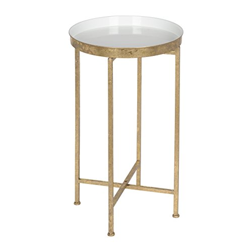 Kate and Laurel 212375 Celia Round Metal Foldable Tray Accent Table, White and Gold (Pedestal Table Small)