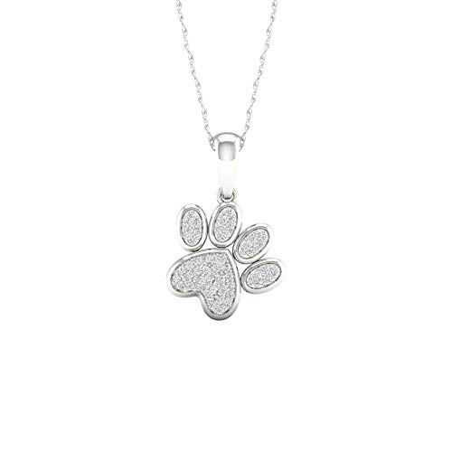 IGI Certified 10K White Gold 1/8ct TDW Diamond Dog Paw Print Necklace (I-J I2) ()
