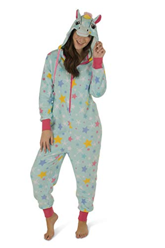 Totally Pink Women's Plush Warm and Cozy Character Adult Onesie/Pajamas/Onesie (Medium, Unicorn Star)