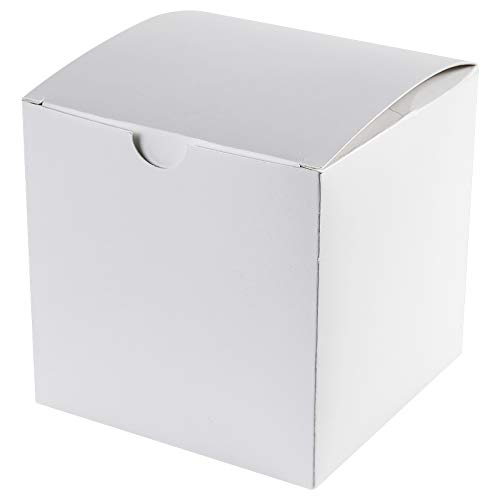[100pcs]White Kraft Gift Boxes 3X3x3 Inches,White Paper Favor Boxes with Lids for Gifts,Craft Cupcake Boxes 100 of Pack