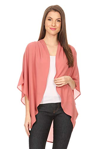 Stripe Floral Mauve - Casual Solid Color Loose Fit Open Front Cardigan/Made in USA Mauve L