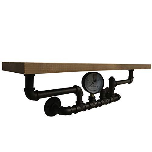 (ZH Shower Caddies Wall-Mounted Shelf,American Loft Industrial Retro Iron Wall Shelf Water Pipe Bracket + Solid Wood Block Display Storage Organizer)