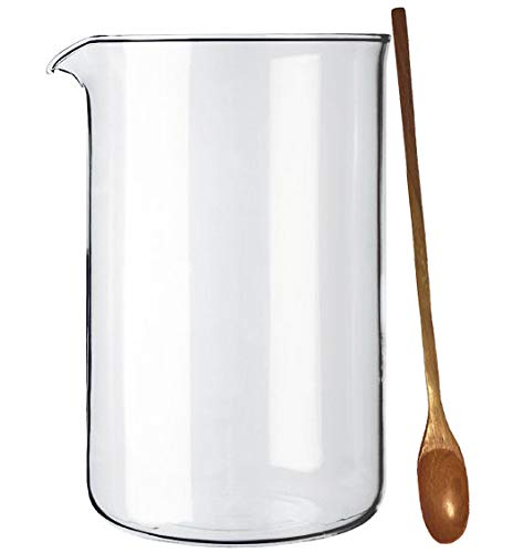 Original Bodum Spare Glass Beaker for 12-Cup French Press Coffee Maker, 1.5 l, 51-Ounce (BISTRO NOUVEAU and CHAMBORD Models) & Zonoz Handmade Wooden Stirring Spoon ()