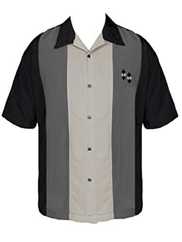 BeRetro Men's Short-Sleeve Black Cuban Collar Style Camp Shirt ~ Platinum]()