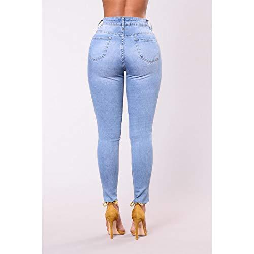 a elasticizzata gamba Denim Style1 dritta e Style1 pantaloni rosa alta JUNFELICIA con Color ricamata Size gamba a alta vita vita XL qE7yf