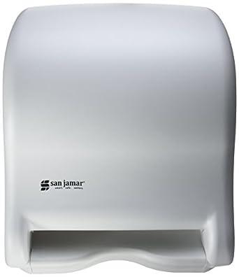 "San Jamar T8000 Tear-N-Dry Essence Towel Dispenser, Fits 8"" Wide Roll, 11-3/4"" Width x 14-7/16"" Height x 9-1/8"" Depth, White"