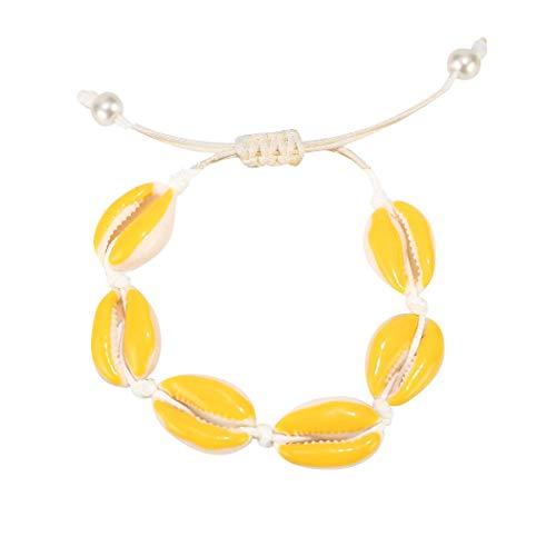 ZHQI Boho Pearl Natural Shell Bracelets Color Enamel Cowry Beaded Beach SeashellJewelry for Women Girl (Yellow)