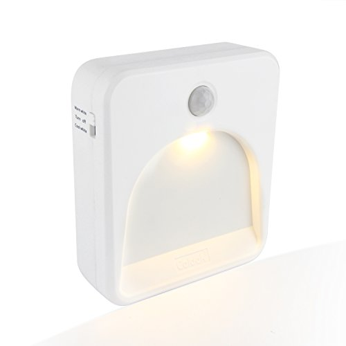 Coidak CO823 Motion Sensor LED Night Light,Warm-Cool White Color Temperature Adjustable,Delay Light Off Time Adjustable,Seamless Installation,Battery-powered,1-Pack