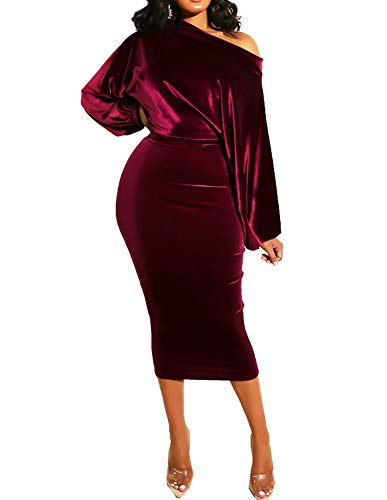 Womens One Off Shoulder Midi Dress Sexy Puff Long Sleeve Velvet Bodycon Evening Party Pencil Dresses