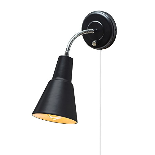 Globe Electric Ramezay 1-Light Plug-In or Hardwire Task Wall Sconce, Chrome Gooseneck, Matte Black Finish, 6 Foot Clear Cord, 65312