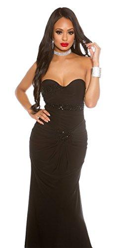 Schmucksteinen Festliches Herzausschnitt Kleid und schwarz mit TqwqSf