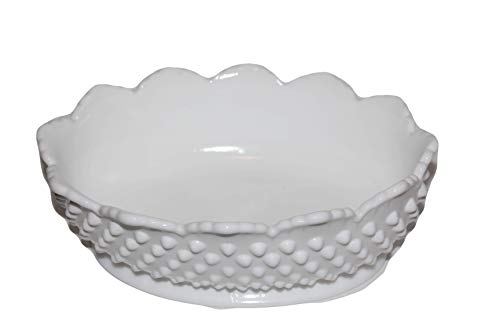 (Vintage FENTON Hobnail Milk Glass Oval Bowl)