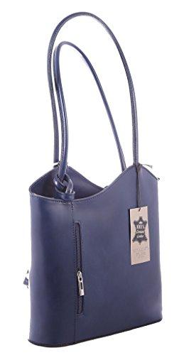 Ctm In Spalla Da Borsa Pelle Pelle Vera 100 Made Blu Donna Italy A Moda Chicca Tutto 28x30x9cm 8qw0Ew