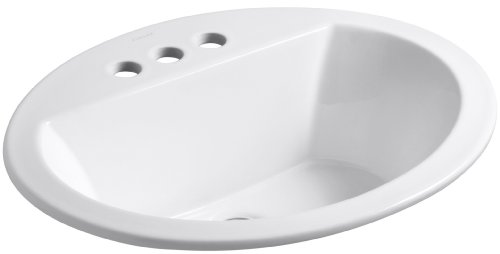 KOHLER K-2699-4-0 Bryant Oval Self-Rimming Bathroom Sink with 4-Inch Centers, (Oval Countertop Lavatory Sink)