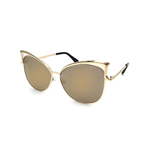 Prada Gold Lens - IslandseClearance!Unisex Metal Spectacle Frame Myopia Cat Eyes Sunglasses (Gold)