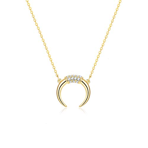 Fettero Dainty Gold CZ Crescent Moon Necklace,Crescent Necklaces for Women, (CZ Crescent - Moon Pendant Gold Crescent