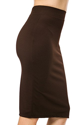 StylesILove Textured Liverpool Womens Pencil Skirt with Back Split (M, Brown) (Skirt Pencil Textured)