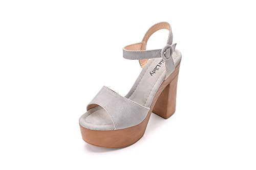 Evoking Chic Styles Ankle Strap Adjustable Buckle Chunky Heeled Sandals Platform Sole Shoes for Women, Loleta Grey Size 11