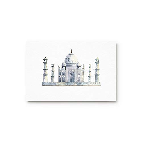 MUSEDAY Taj Mahal Entryway Door Rug Floor Mat 18x30inch Landmark Building Thai Castle Oilpainting Art Design Doormat Indoor Shoe Scraper Rubber Entrance Mat for Living Dining Dorm ()