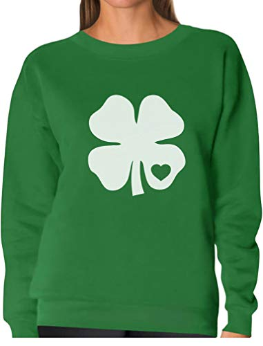 TeeStars - Irish Shamrock White Clover Heart St. Patrick's Day Women Sweatshirt Medium Green