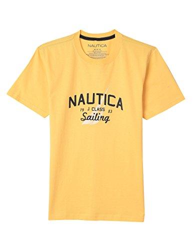 Nautica Boys' Big' Short Sleeve Sailing Graphic T-Shirt, Edward Light Gold, Large (14/16)