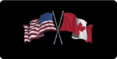 USA / Canada Crossed Flags Photo License Plate Free Personalization on this - Canada Personalization