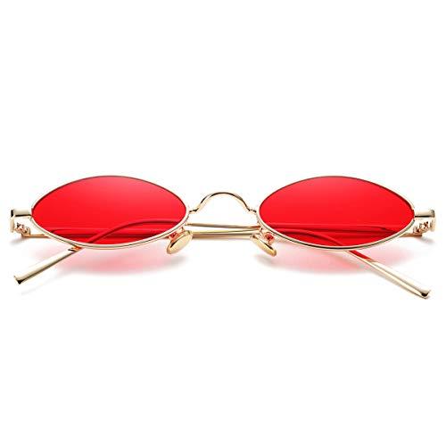Vintage Small Oval Sunglasses for Women Men Hippie Cool Metal Frame Sun Glasses (Gold Frame/Red ()
