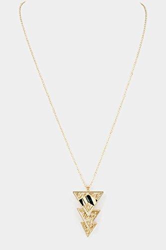 Triple Triangle Gold Pendant Choker Necklace - 2