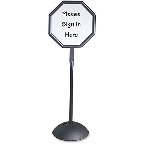 Double Sided Sign, Magnetic/Dry Erase Steel, 19 1/4 x 19 1/4, White, Black Frame (Renewed) ()