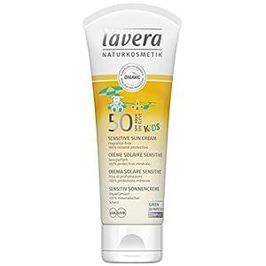 Lavera Crème Solaire Sensitive Kids Lsf 50 Sans Parfum 100% Protection Minérale Vegan Cosmétiques Naturels Ingrédients Végétaux Bio 100% Naturel (75ml)