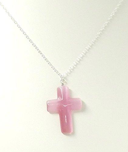 (Children's Pink Cat's Eye Cross Pendant Necklace)