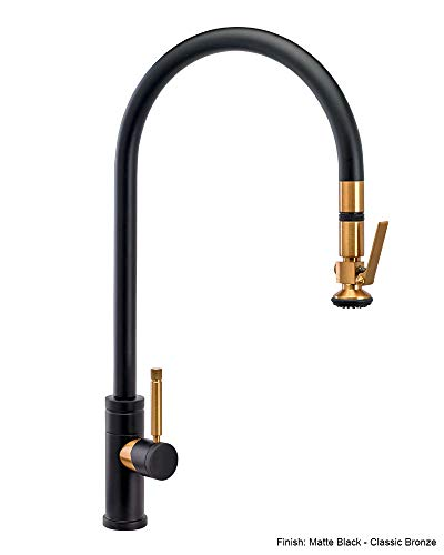 - Waterstone 9700-GB Industrial Extended Reach PLP Pulldown Faucet w/Lever Sprayer Gloss Black