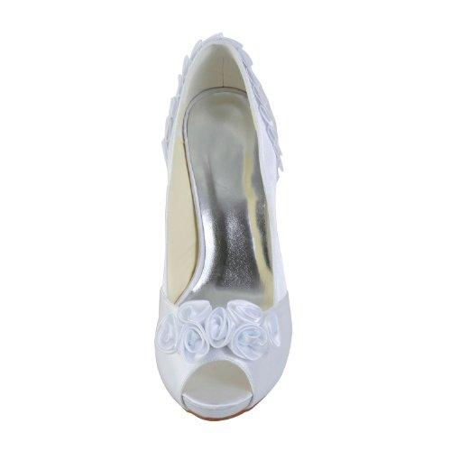JIA JIA Women's Bridal Shoes 37028 Peep Toe Stiletto Heel Satin Platform Pumps Satin Flower Wedding Shoes White HfLUMQoXP