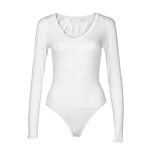 Xinantime Basic Solid Bodysuit Single Breasted Long Sleeve Bodycon Jumpsuit Stretchy Romper Leotard Tops White ()