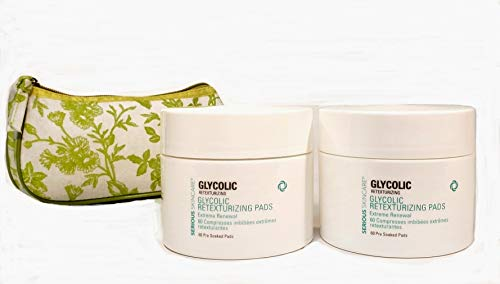 Serious Skincare Glycolic Extreme Renewal Retexturing Pads DUO (2) 60 Count Pre-Soaked Pads with Green Toile Print Cosmetic Bag