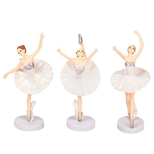 HYSTYLE 3 Pcs Dancing Ballerina Girl Figurine, Miniature Ballerina Girl Figure Collection Playset Doll Toy, Ballerina Girl Cake Topper, Ballerina Girl Plant Pot Craft Dollhouse Decoration, Cake Decoration, Landscape Scenes (Figurine Miniature Ballerina)