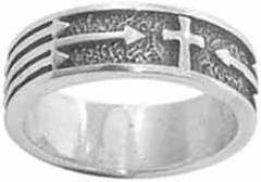 Christian Mens Stainless Steel Abstinence Cross with Arrows Chastity Ring for Boys - Guys Purity Ring, Mens Purity Ring, Boys Purity Ring