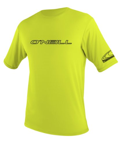 O'Neill Wetsuits UV Sun Protection Youth Basic Skins Short Sleeve Tee Sun Shirt Rash Guard, Lime, 8