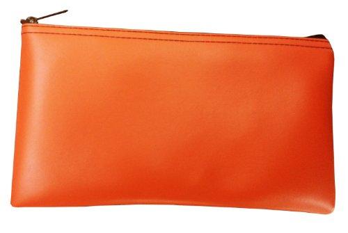Vinyl Zipper Bags (Leatherette) Small, Compact Zippered Pouches | Portable Travel Utility | Check Wallet, Toiletries, Makeup, Cosmetics, Tools | Men, Women | Orange