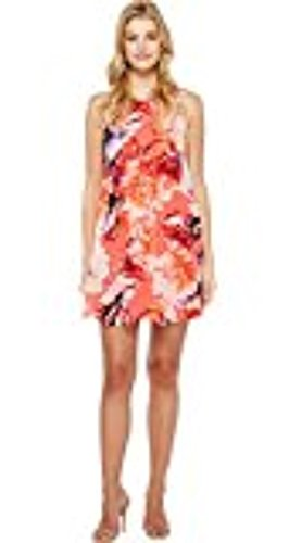 Womens Coral Chiffon Floral Klein Dress Multi Trapiz Calvin fWq57TnFtW