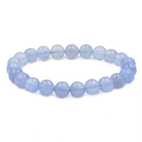 Winmaarc Blue Chalcedony Natural Gemstone Round Beads Stretch Bracelet Healing Reiki 8mm