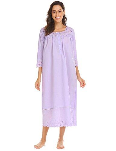 Ekouaer Victorian Nightgwon Long Sleeve Nightwear for Women Plus Size Z-purple (Sleep Sleepshirt)