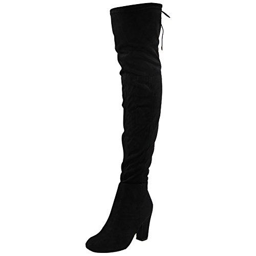 Womens Ladies Stretchy Thigh High Over The Knee Long Lace Up Heel Boots Shoes Size 3-8 Black