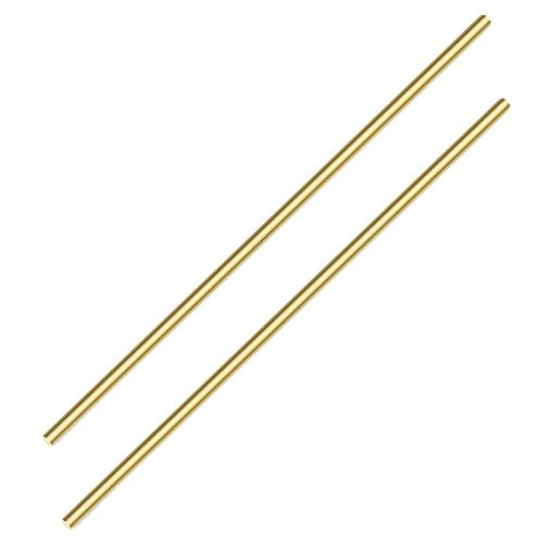 Sutemribor Brass Solid Round Rod Lathe Bar Stock, 3/8 inch in Diameter 14 inch in Length (2 PCS)